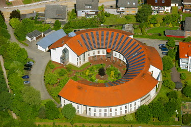 IBLBLO01590324 Aerial view of roof with solar panels, rotunda, Alt-Oer retirement home, Oer-Erkenschwick, Ruhr Area, North Rhine-Westphalia, Germany