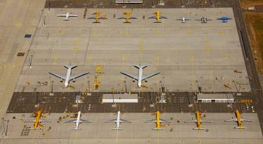 IBLBLO01658280 Aerial view of Leipzig International Airport, cargo airport, Schkeuditz, Saxony, Germany