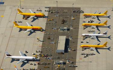 IBLBLO01658283 Aerial view of Leipzig International Airport, cargo airport, Schkeuditz, Saxony, Germany