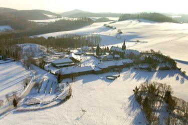 IBLBLO01792144 Aerial view of Kloster Oelinghausen monastery, Arnsberg, Sauerland area, North Rhine-Westphalia, Germany