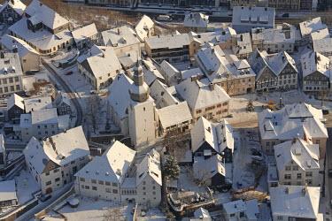 IBLBLO01792157 Aerial view of old town of Arnsberg, Sauerland area, North Rhine-Westphalia, Germany