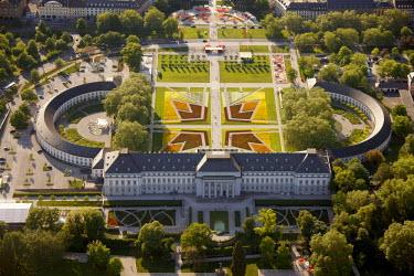 IBLBLO01916637 Aerial view of Bundesgartenschau horticulture show, BuGa 2011, Electoral Palace, Koblenz, Rhineland-Palatinate, Germany