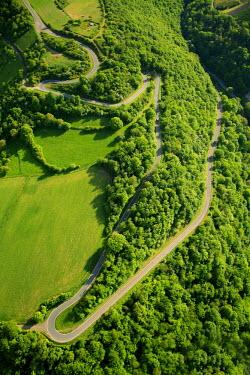 IBLBLO01916815 Aerial view of winding road, hairpin curves, Rhine Valley, near Oberwesel, Rhineland-Palatinate, Germany
