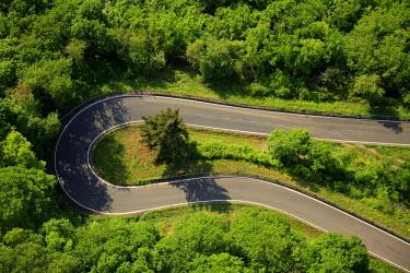 IBLBLO01916825 Aerial view of winding road, hairpin curve, Rhine Valley, near Oberwesel, Rhineland-Palatinate, Germany