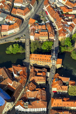 IBLBLO02322846 Aerial view of old town hall, Main river, bridges across the Main river, Bamberg, Upper Franconia, Bavaria, Germany