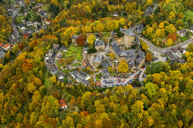 IBLBLO02409242 Aerial view of Schloss Burg castle an der Wupper, Solingen, autumn, Bergisches Land region, North Rhine-Westphalia, Germany