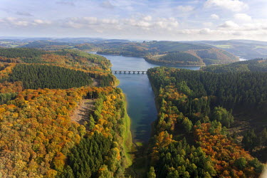 IBLBLO02454001 Aerial view of Verse Reservoir in autumn, Luedenscheid, Sauerland, North Rhine-Westphalia, Germany