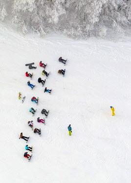 IBLBLO03048972 Aerial view of ski school, snowboard school, Winterberg, Winterberg, Sauerland, Hochsauerlandkreis, North Rhine-Westphalia, Germany