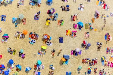 IBLBLO03652001 Aerial view of sandy beach at Silbersee II lake with people sunbathing, Sythen, Haltern am See, North Rhine-Westphalia, Germany