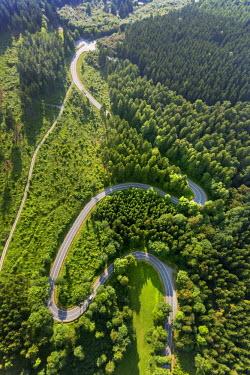 IBLBLO03726867 Aerial view of sharp curves on the road L870, Hoppecke, Brilon, North Rhine-Westphalia, Germany