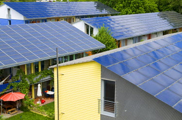 IBLDJS01170835 Solar roofs of the Solarsiedlung solar settlement, Vauban, Freiburg, Baden-Wuerttemberg, Germany