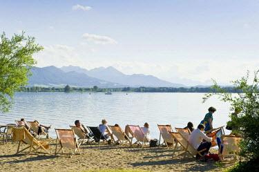 IBLDJS02332625 Beach bar and swimming area at Uebersee, Chiemsee Lake, Chiemgau region, Bavaria, Germany