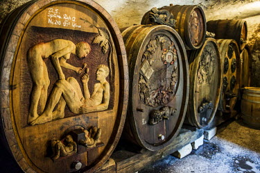 IBLDJS03718074 Ornately carved wine barrels, Germany