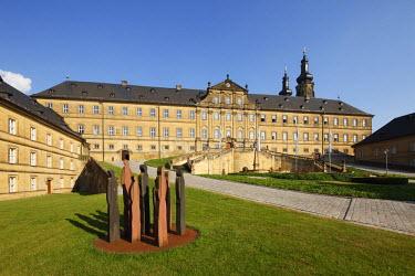 IBLMAN01615730 Inner courtyard of Banz Abbey, Bad Staffelstein, Upper Franconia, Franconia, Bavaria, Germany