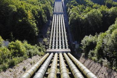 IBLMAN01689631 Pipes from Lake Walchen to Lake Kochel, Walchensee Hydroelectric Power Station, Kochel, Upper Bavaria, Bavaria, Germany