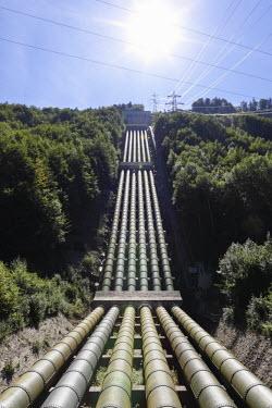 IBLMAN01689632 Pipes from Lake Walchen to Lake Kochel, Walchensee Hydroelectric Power Station, Kochel, Upper Bavaria, Bavaria, Germany