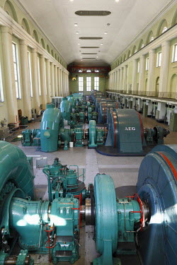 IBLMAN01689633 Turbine Hall, powerhouse of the Walchensee Hydroelectric Power Station, hydroelectric power from Lake Walchen to Lake Kochel, Kochel, Upper Bavaria, Bavaria, Germany