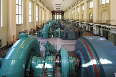 IBLMAN01689634 Turbine Hall, powerhouse of the Walchensee Hydroelectric Power Station, hydroelectric power from Lake Walchen to Lake Kochel, Kochel, Upper Bavaria, Bavaria, Germany