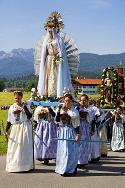 IBLMSI00107735 Feast of Corpus Christi procession Wackersberg Upper Bavaria Germany