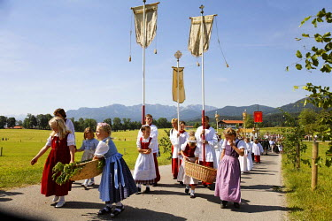 IBLMSI00107741 Feast of Corpus Christi procession Wackersberg Upper Bavaria Germany