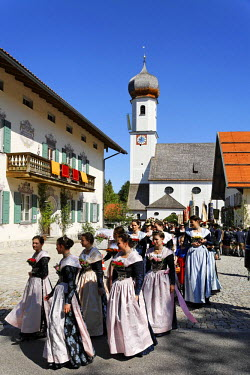 IBLMSI00295715 Feast of Corpus Christi procession in Gmund at Tegernsee lake, Upper Bavaria Germany