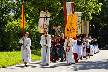 IBLMSI00295723 Feast of Corpus Christi procession in Gmund at Tegernsee lake, Upper Bavaria Germany