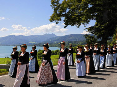 IBLMSI00295737 Feast of Corpus Christi procession in Gmund at Tegernsee lake, Upper Bavaria Germany
