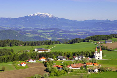 IBLCGH00187611 Aerial shot of the village of Maria Schnee with the mountain Schneeberg in the background, Lower Austria, Austria