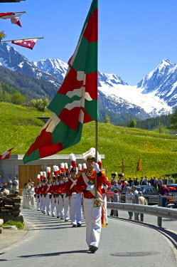 IBLGUF00027261 Grenadiers of the Lord Corpus Christi procession Wiler Valais Switzerland