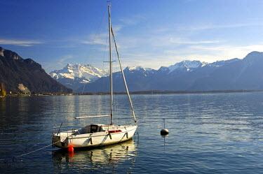 IBLGUF00312112 Moored sailing boat, Lake Geneva, Montreux, Switzerland