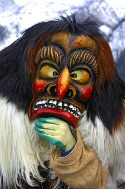 IBLGUF00624706 Tschaeggaetae, Carnival masks, Wiler, Loetschental, Valais, Switzerland