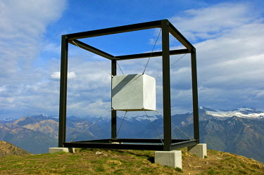 IBLGVA03013204 Artwork 'Suspended Cube' by the sculptress Jaya Schuerch, cultur route on Monte Tamaro, Monte Tamaro, Kanton Tessin, Switzerland