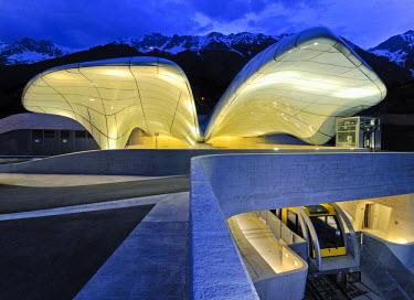 IBLGZS00840838 Hungerburgbahn Railway, summit station designed by stararchitect Zaha Hadid, Innsbruck, Tyrol, Austria