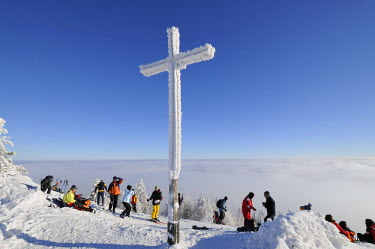 IBLHAN01471785 Summit cross of Mt. Unterberg, 1342m, Lower Austria, Austria
