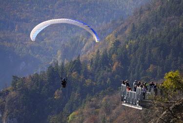 IBLHAN01493058 Paraglider and Skywalk, Hohe Wand, Lower Austria, Austria
