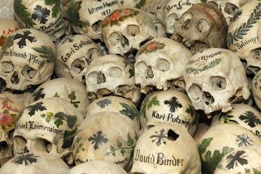IBLMAN01205799 Skulls in the ossuary, Karner St. Michaelskapelle St. Michael Cchapel, Hallstatt, Salzkammergut region, Upper Austria, Austria