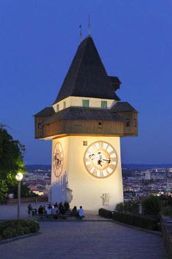 IBLMAN02300830 Clock tower on Schlossberg, castle hill, Graz, Styria, Austria