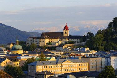IBLMAN02440116 View of Nonnberg monastery and the Cajetan church as seen from Kapuzinerberg mountain, Salzburg, Austria