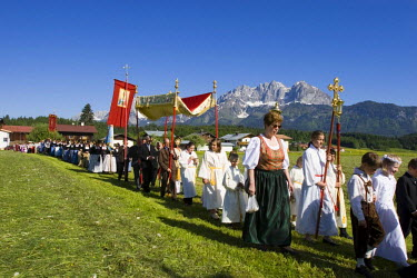 IBLMSI00028473 Feast of Corpus Christi procession in Oberndorf Tyrol Austria
