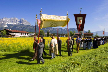 IBLMSI00028503 Feast of Corpus Christi procession in Oberndorf Tyrol Austria