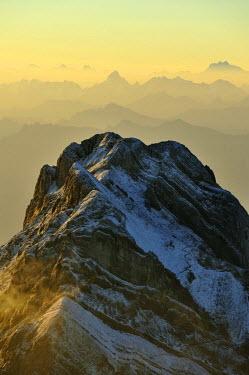 IBLSHU00928279 Sunrise above the Alpstein Range, Saentis, Appenzell, Switzerland