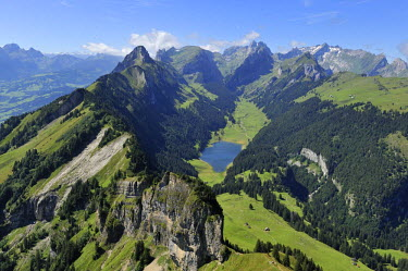 IBLSHU00928283 View from Mt Hoher Kasten in the direction of Saemtiersee Lake and Saentis, Appenzell, Switzerland