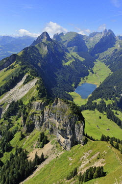 IBLSHU00928284 View from Mt Hoher Kasten in the direction of Saemtiersee Lake and Saentis, Appenzell, Switzerland