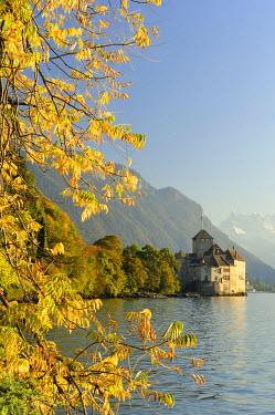 IBLSHU01314781 Chillon Castle on Lake Geneva and the Dents du Midi mountains, Veytaux, Montreux, Switzerland
