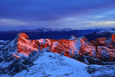 IBLSHU03766877 Evening mood on Saentis Mountain, Canton of Appenzell Ausserrhoden, Switzerland