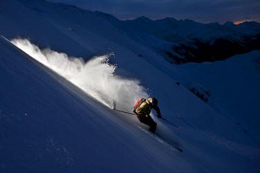 IBLVCH02020083 Freerider, skier, snowy landscape, Arlberg mountain range, northern Tyrol, Austria