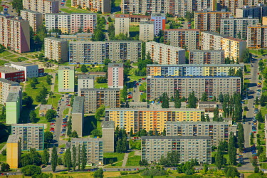 IBLBLO01658349 Aerial view of prefabricated buildings, residential area, Jilmova, Liberec, Czech Republic