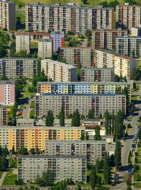 IBLBLO01658352 Aerial view of prefabricated buildings, residential area, Ceskych Bratri, Liberec, Czech Republic