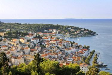 IBLHAN01610138 View from Spanjola fortress on town of Hvar, Hvar island, Croatia