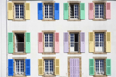 IBLGAB01067567 Coloured shutters of a hotel, Port Maria, Quiberon, Morbihan, Brittany, France